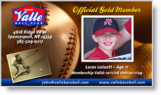 Baseball Club Membership Card